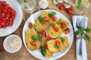 Gemüse wie bei Gennaro: Parmesan-Polenta-Auberginen mit Tomatensalsa
